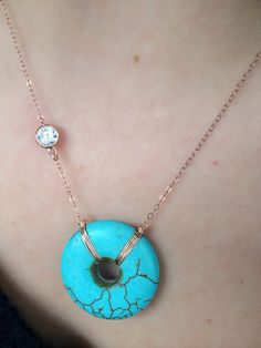 Turquoise Stone Donut & Cubic Zirconia by JewelryTutusBowsOhMy, $64.00