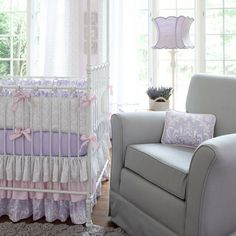 Lilac and Silver Gray Damask Crib Bedding | Baby Girl Purple and Pink Crib Collection | Carousel Designs