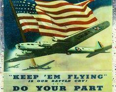 Vintage Patriotic Military Art - Air Force Military - Keep Em Flying- Handmade Recycled Tile Coaster