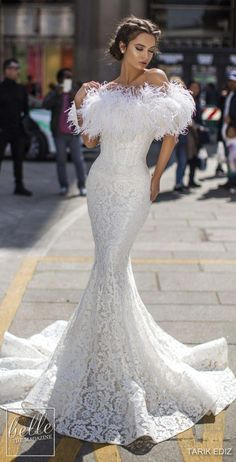 c9f2130194a91d Mermaid sexy lace wedding dress with feather off the shoulder cover up for  winter wedding See more gorgeous wedding dresses by clicking ...