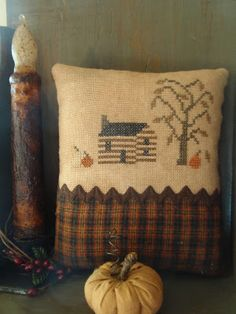 """Primitive Autumn Cabin""  design by Country Rustic Primitives (stitched by Winding Vine Wanderings)"