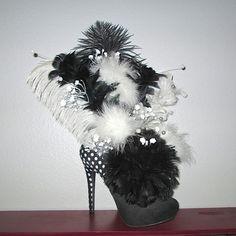 Feather Arrangement In a Black and White Kardashian Kollection High Heel Shoe - Silk Floral Arrangement - Home Decor