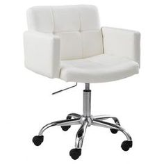 "Contemporary rolling arm chair with welted faux leather upholstery and a chrome-finished base.  Product: Office chairConstruction Material: Faux leather and chromeColor: White and silverFeatures: Heavy duty castersDimensions: 36"" H x 24"" W x 23"" D"