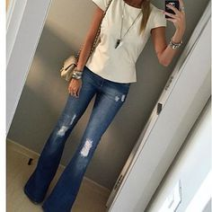 Love the Off white fitted shirt with distressed jeans.