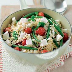  philadelphia ipv mozzarella suuuper easy & suuuuuper cheap:)  - rijst met sperziebonen en tomaat