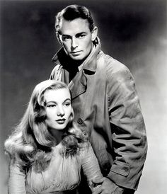 """Leading Couples Alan Ladd and Veronica Lake in the film-noir classic """"This Gun For Hire"""" - Universal) Veronica Lake, Johnny Depp Angelina Jolie, Robert Vaughn, Hollywood Stars, Classic Hollywood, Old Hollywood, Hollywood Couples, Hollywood Glamour, Kirk Douglas"""