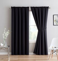 Erica - Premium Rod Pocket Blackout Curtains With Tiebacks - 2 Panels - Total 108 Inch Wide Each Panel) - 108 inch long - Solid Thermal Insulated Draperies x - Each Panel, Charcoal) Black Curtains Bedroom, Kids Curtains, Cool Curtains, White Curtains, Bedroom Decor, Bedroom Ideas, Luxury Curtains, Short Curtains, Curtain Panels