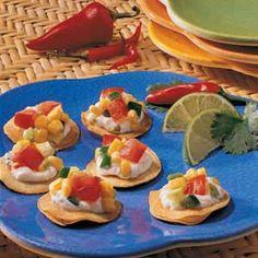 Corn Salsa Tostadas Recipe from Taste of Home - good base recipe for corn salsa - sub green chiles for jalapenos