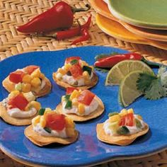 Corn Salsa Tostadas Recipe from Taste of Home - good base recipe for corn salsa - sub green chiles for jalapenos