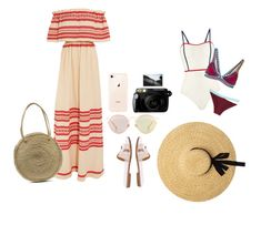 """beach outfit"" by richssey on Polyvore featuring Celia Dragouni, Hermès, Christian Dior, Fuji, Solid & Striped and kiini"