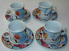 Sakura Demitasse/Espresso Set of Four (4) Cups & Saucers