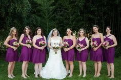 Purple bridesmaid dresses, pink bouquets  // photo by Jennifer Baumann Photography