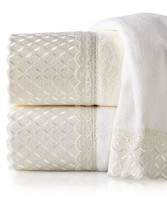 Eyelet Scallop Towels by Avanti Linens at Horchow.
