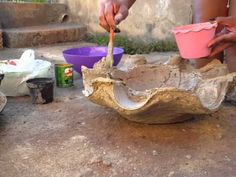 DIY.Vaso de toalha e cimento (MACETA DE TOALLA Y CEMENTO 3)