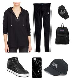 """Black"" by omaimamassher on Polyvore featuring Lauren Ralph Lauren, Madewell, adidas, SO, Recover and JanSport"