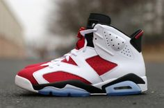 NIKE AIR JORDAN VI RETRO WHITE/CARMINE RED-BLACK #sneaker