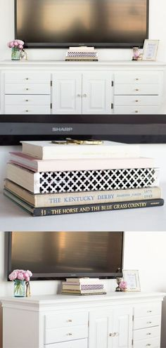 DIY Cable Box Cover, How to cover your tv cords in your rental apartment, Easy way to hide common household eyesores! Vintage equestrian decor, vintage blue ball mason jar vase with pink peonies.