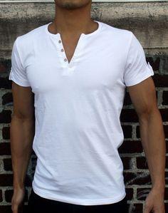 NEW VAV V MUSCLE SLIM FIT T SHIRTS SPLIT NECK W20 MENS LUMBER MAN WHITE
