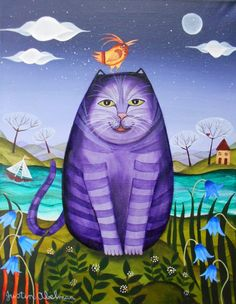 The Purple Puddytat by Justin Abelman Pretty Cats, Beautiful Cats, Love Statue, Son Chat, Relaxing Art, Purple Cat, Purple Hues, Cat Colors, All About Cats