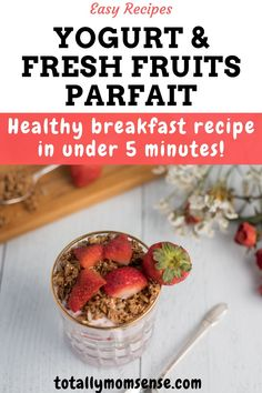 This post is sponsored by Greek Gods but the content and opinions expressed here are my own. This These easy-to-make and healthy breakfast parfaits can be prepared under 5 minutes are packed in layers with yogurt, fresh fruits and oat crunch. Healthy Breakfast Recipes, Healthy Snacks, Healthy Recipes, Cereal Recipes, Baby Food Recipes, Chef Recipes, Fruit Parfait, Healthy Protein, Fresh Fruit