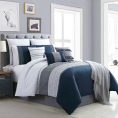 Layer by layer, your bed will look stylish and feel oh-so cozy in the Hilden Comforter Set. Meticulous details on the comforter and shams enliven the atmosphere in your bedroom, while throw pillows serve as chic accents to this two-tone bedding set. Full Comforter Sets, Bed Sets, Navy Blue Comforter Sets, Boys Bedding Sets, Gray Bedding, Chic Bedding, King Bedding Sets, Cotton Bedding, Stylish Bedroom