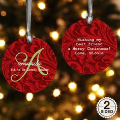 Ornament Gifts: Name Meaning Personalized Christmas Ornament, 2 Sided Ornament