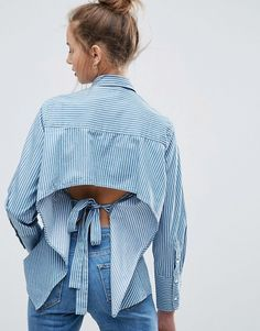ASOS Denim Stripe Shirt With Long Cuff and Open Back