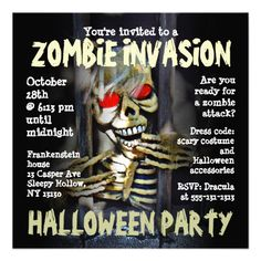 Zombie Invasion Halloween Party Invitation