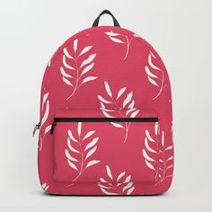 """BACKPACK BY TWENTY9DESIGNS    Our Backpacks are crafted with spun poly fabric for durability and high print quality. Thoughtful details include double zipper enclosures, padded nylon back and bottom, interior laptop pocket (fits up to 15""""), adjustable shoulder straps and front pocket for accessories. Dry clean or spot clean only. One unisex size: 17.75""""(H) x 12.25""""(W) x 5.75""""(D).  Floral print on a hot #pink background. #Floralpattern .  #minimalist design.  #graphicdesign  #pattern #digitalart Floral Backpack, Minimalist Design, Shoulder Straps, Hot Pink, Floral Prints, Laptop, Backpacks, Zipper, Pocket"""