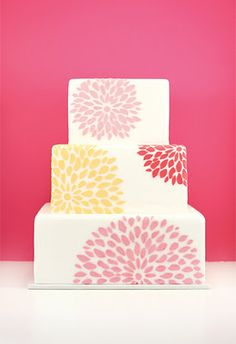 Sarah - how about this design for the wedding cake but alternate the direction of the boxes and red roses on each layer?