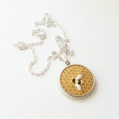 Bee necklace small round pendant silk ribbon embroidery