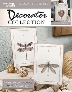 Birds and Butterflies - Make beautiful decoupaged home accents with the antique reproduction prints inside Birds and Butterflies Decorator Collection from Leisure Arts. Book shows 17 sample projects with instructions for preparing wood, metal, and other surfaces; applying basecoat and paint techniques; and decoupaging. Projects are a Songbird Window, two Butterfly Hanging Buckets, Butterfly Garden Bench, Canvas Butterflies Trio, two Songbird Lampshades, Shadow Box Butterfly, two Mother Bird…