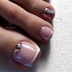 Pretty Toe Nails, Cute Toe Nails, Fancy Nails, Gorgeous Nails, Pink Nails, Gel Toe Nails, Feet Nails, Toe Nail Art, Feet Nail Design