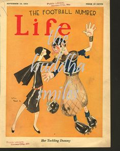 "artist john held jr. | Nov 13, 1924 Original Life Magazine Cover, ""Her Tackling Dummy ..."