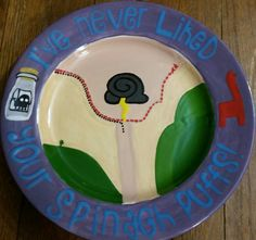 ceramic painted plate-color me mine-emperor's new groove- I've never liked your spinach puffs