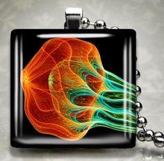 Jelly Fish Deep Sea Ocean Glass Pendant Necklace