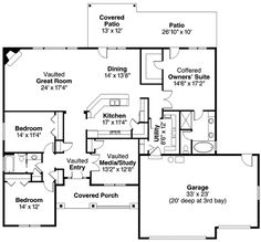 First Floor Plan of Contemporary European Ranch House Plan 59701 ~ familyhomeplans. Very modest floor plan Ranch House Plans, Dream House Plans, Small House Plans, House Floor Plans, Dream Houses, The Plan, How To Plan, Plan Plan, European Plan