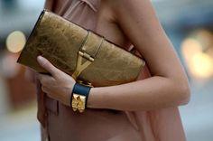 YSL CLUTHES IN #StreetStyle: Saint Laurent 'Y' clutch & Hermès Collier De Chien leather bracelet