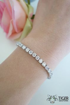 10 ctw Eternity Tennis Bracelet, 4mm Round Man Made Diamond Simulants, Sterling Silver, Anniversary Gift, Bridesmaid, Bride, 7-8 inches