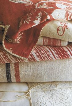Love soft white and vintage red...