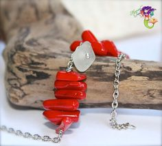 Sea Glass Anklet with Red Coral branches by MermaidTearsDesigns, $25.00