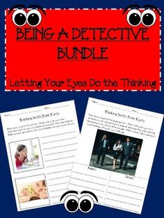 This activity set is a bundle made of 2 of my most popular activities.  It is a 29 page set that includes visuals for you to post during instruction.  The first set includes photos of a person and the second set is photos of peopleBeing a Detective-Thinking with your Eyes, Social Skills, Pragmatic LanguageBeing a Detective 2-Thinking with your Eyes, Social Skills, Pragmatic LanguageThis bundle is for social skills instruction for improving students ability to use what they see to understand…