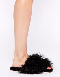 ASOS River Island Mongolian Fur Slippers XL Black Fuzzy Open Toe Scuffs NEW #Asos #ScuffsMules