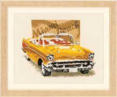 Miami Beach, Classic Cars, counted cross-stitch