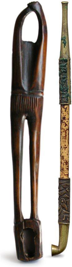 19th Century Antique Japanese Ashinaga Bronze Kiseru Pipe Case Sagemono Netsuke Sig Issai