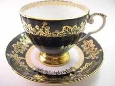 Antique Royal Grafton black Tea Cup & Saucer  by AntiqueAndCrafts, $65.00