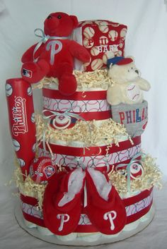 Phillies Unisex diaper cake by GK Babies on etsy.com