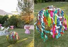 Fabric 'Around the World' seating card display. Each pattern of fabric represented a different city from around the world the couple visited which were the table names.  The Parker Palm Spring wedding by Alchemy Fine Events   Photo by Scott Clark Photo   100 Layer Cake