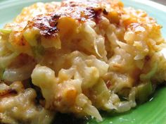Loaded Cauliflower Casserole! Protein: bacon, Fat: heavy cream and cheeses, Carbs: cauliflower and green onions.