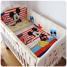 42.80$  Watch now - http://aliapo.worldwells.pw/go.php?t=32521788009 - Promotion! 6PCS Mickey Mouse Baby bedding set crib set 100% cotton bumper set winter bedclothes (bumpers+sheet+pillow cover) 42.80$
